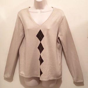 Architect Petites PXL Long Sleeve Argyle Sweater